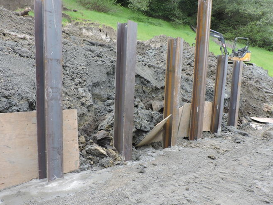 Steel I-beams installed and backfilled