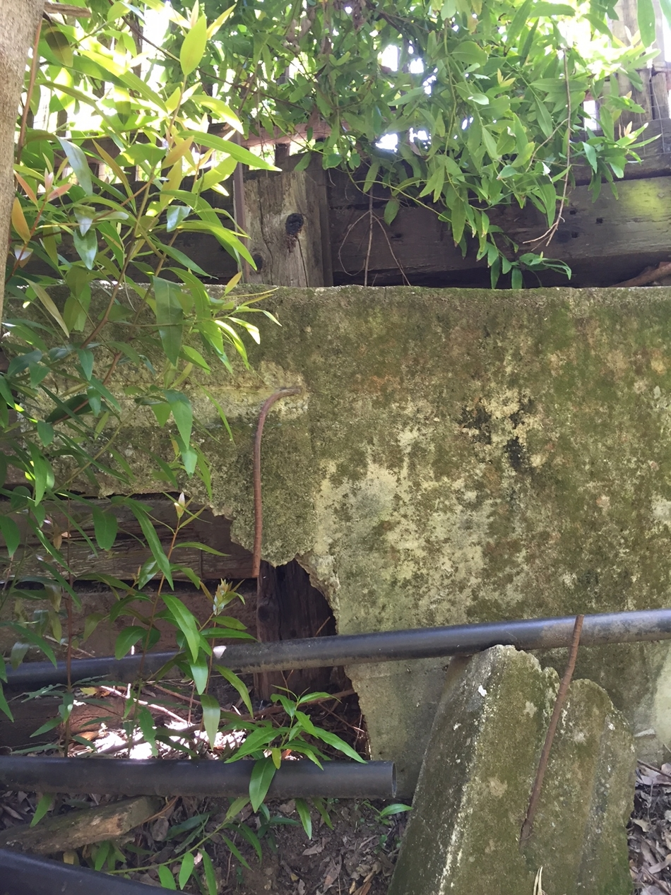Old failing retaining wall