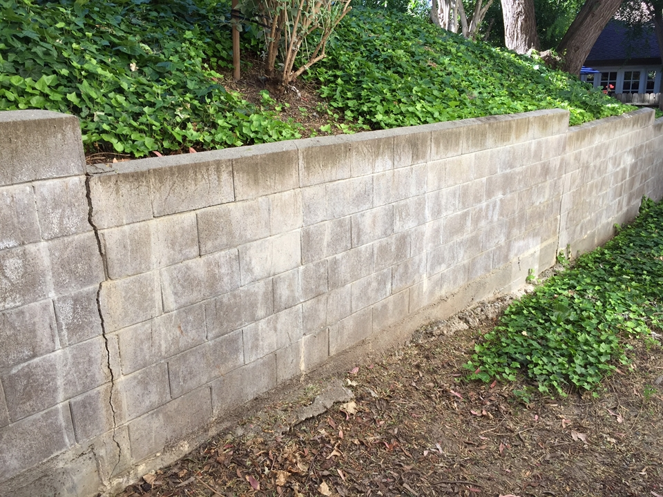 The retaining wall is starting to fail